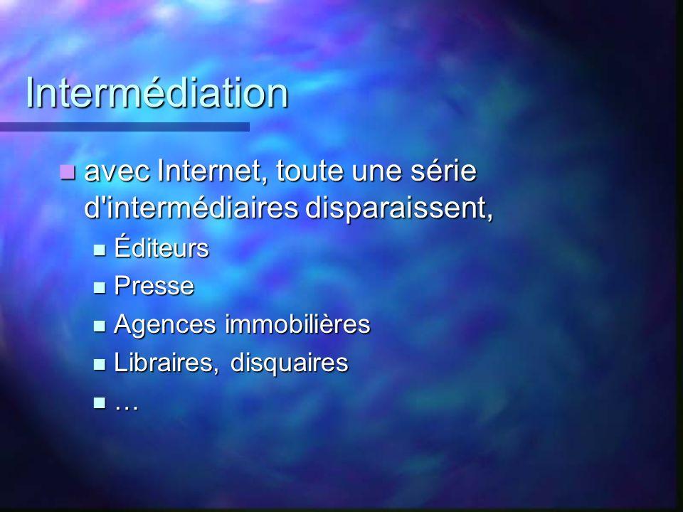 Intermédiation avec Internet, toute une série d intermédiaires disparaissent, Éditeurs. Presse. Agences immobilières.