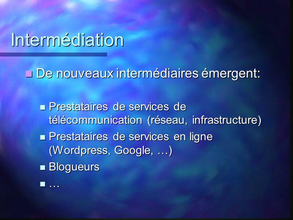 Intermédiation De nouveaux intermédiaires émergent: