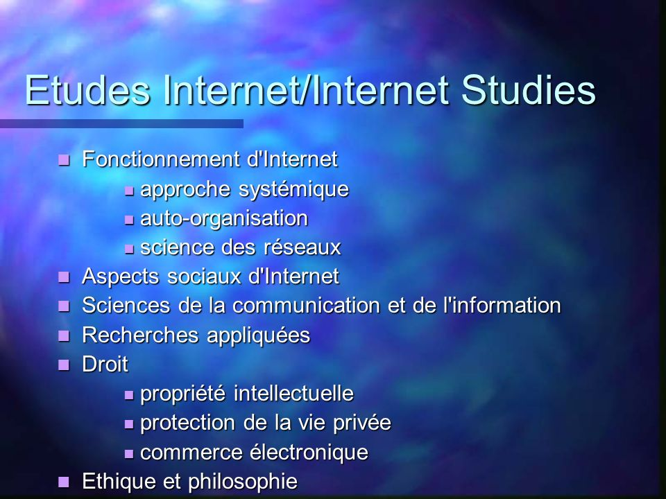 Etudes Internet/Internet Studies