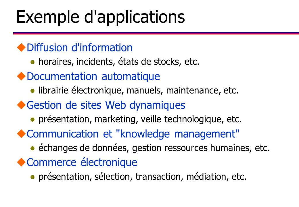 Exemple d applications