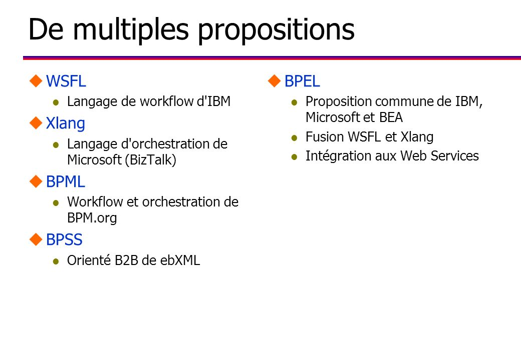 De multiples propositions