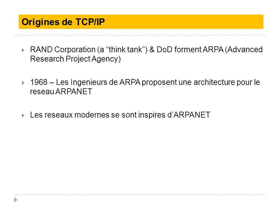 Origines de TCP/IP RAND Corporation (a think tank ) & DoD forment ARPA (Advanced Research Project Agency)‏