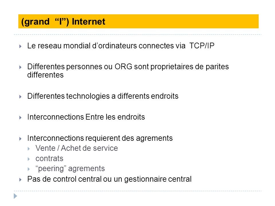 (grand I ) Internet Le reseau mondial d'ordinateurs connectes via TCP/IP. Differentes personnes ou ORG sont proprietaires de parites differentes.