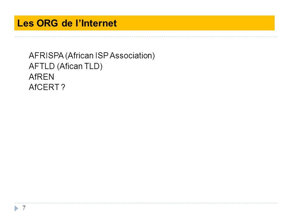 Les ORG de l'Internet AFRISPA (African ISP Association) AFTLD (Afican TLD) AfREN AfCERT