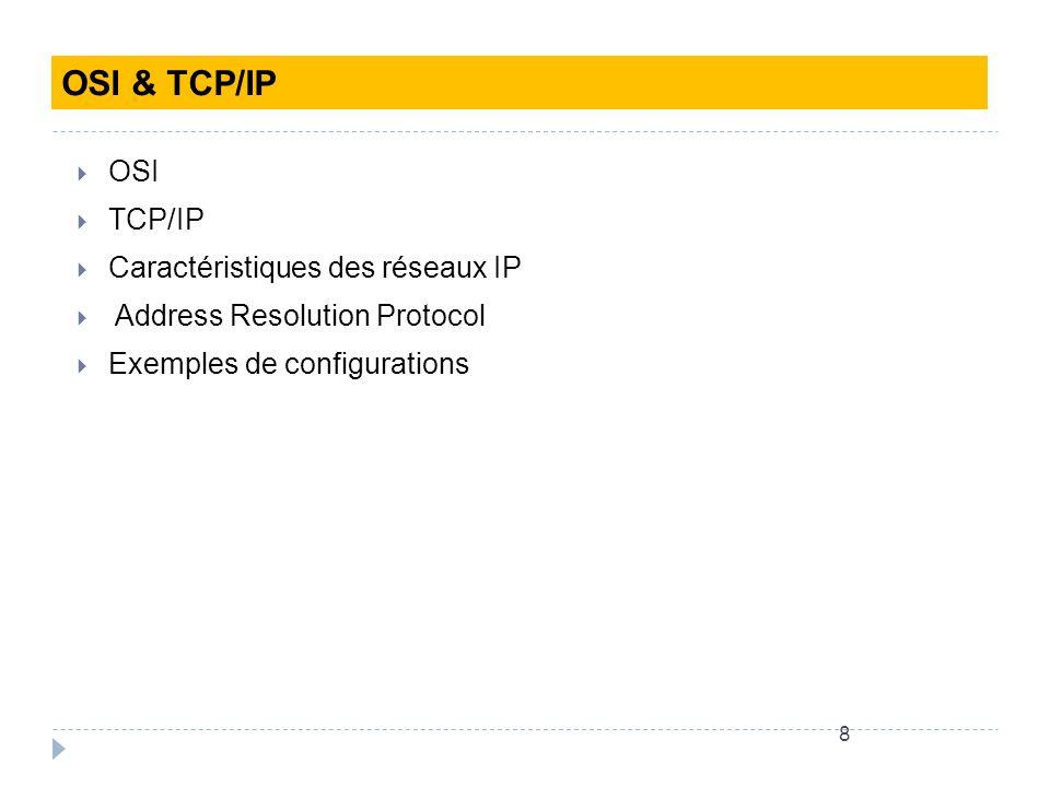 OSI & TCP/IP OSI TCP/IP Caractéristiques des réseaux IP