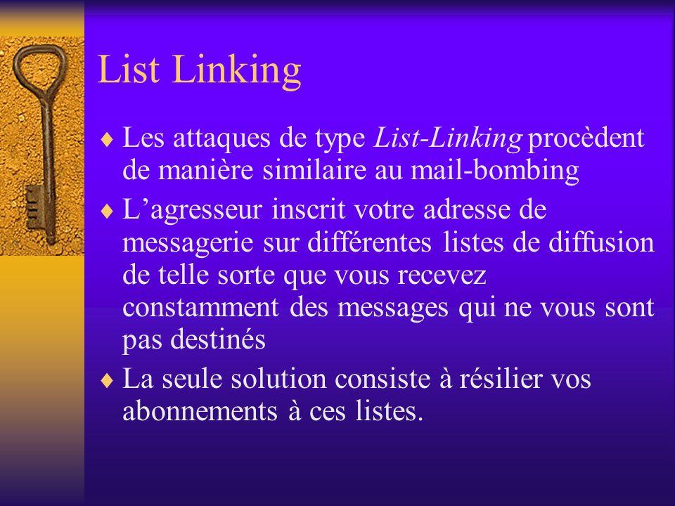 List Linking Les attaques de type List-Linking procèdent de manière similaire au mail-bombing.