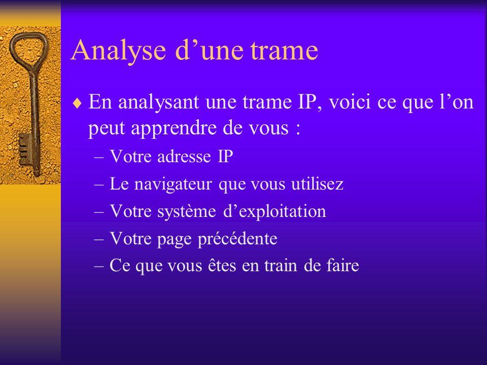 Analyse d'une trame En analysant une trame IP, voici ce que l'on peut apprendre de vous : Votre adresse IP.