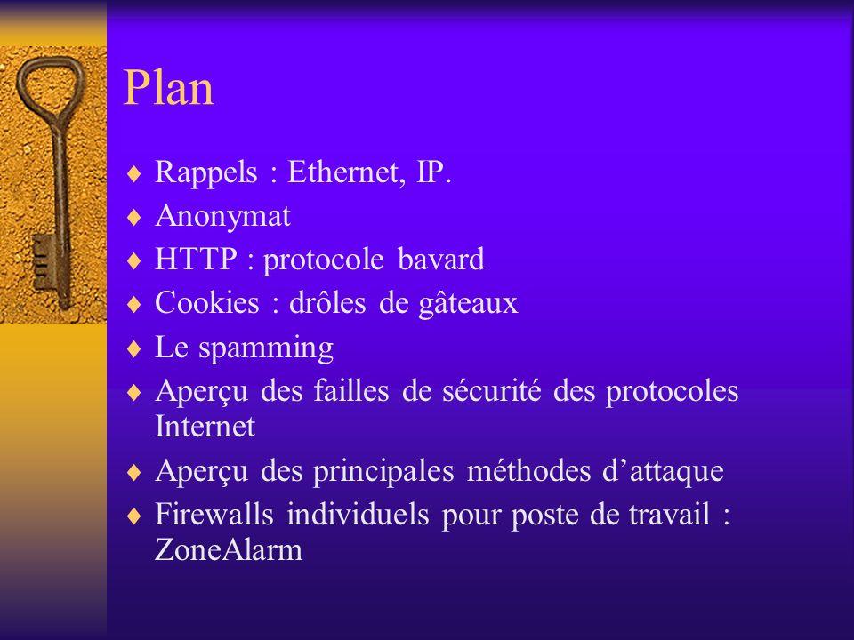 Plan Rappels : Ethernet, IP. Anonymat HTTP : protocole bavard