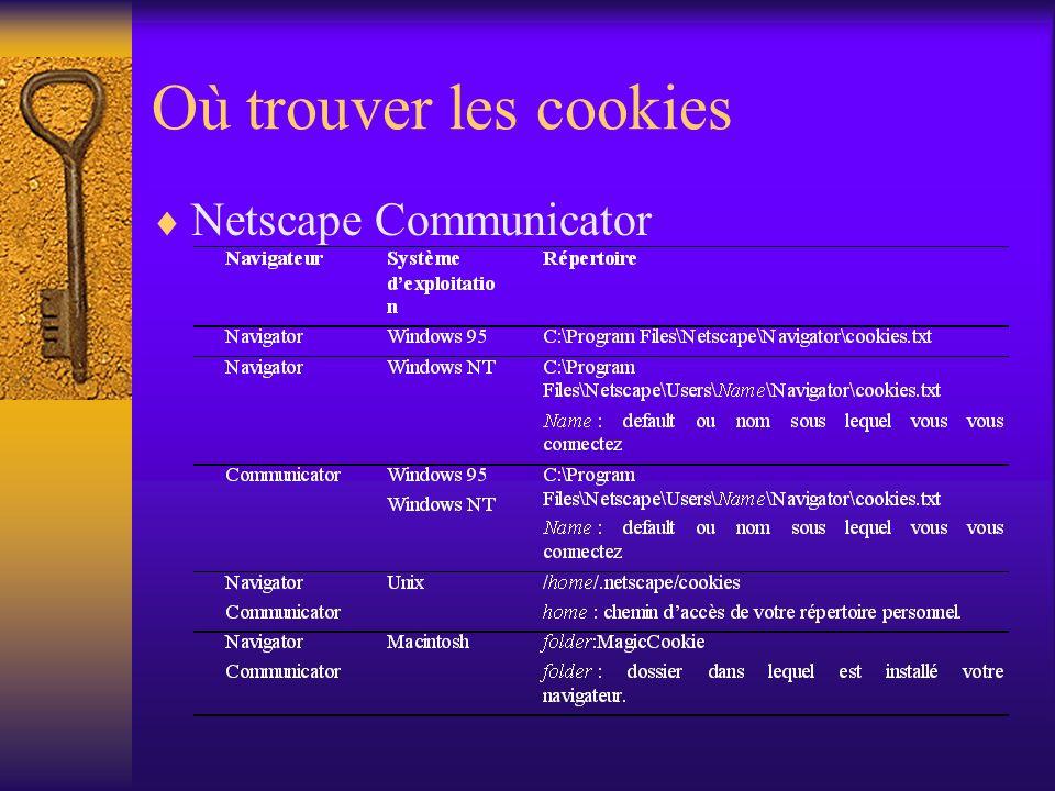 Où trouver les cookies Netscape Communicator
