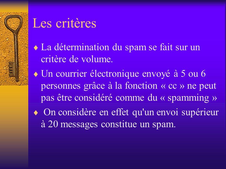 Les critères La détermination du spam se fait sur un critère de volume.