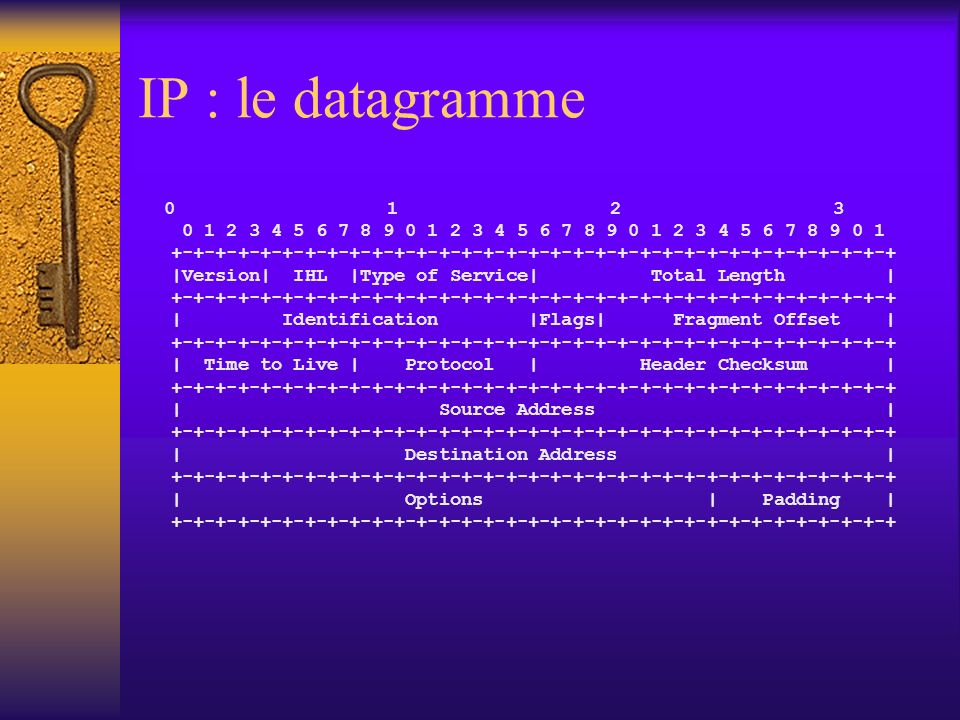 IP : le datagramme 0 1 2 3. 0 1 2 3 4 5 6 7 8 9 0 1 2 3 4 5 6 7 8 9 0 1 2 3 4 5 6 7 8 9 0 1.