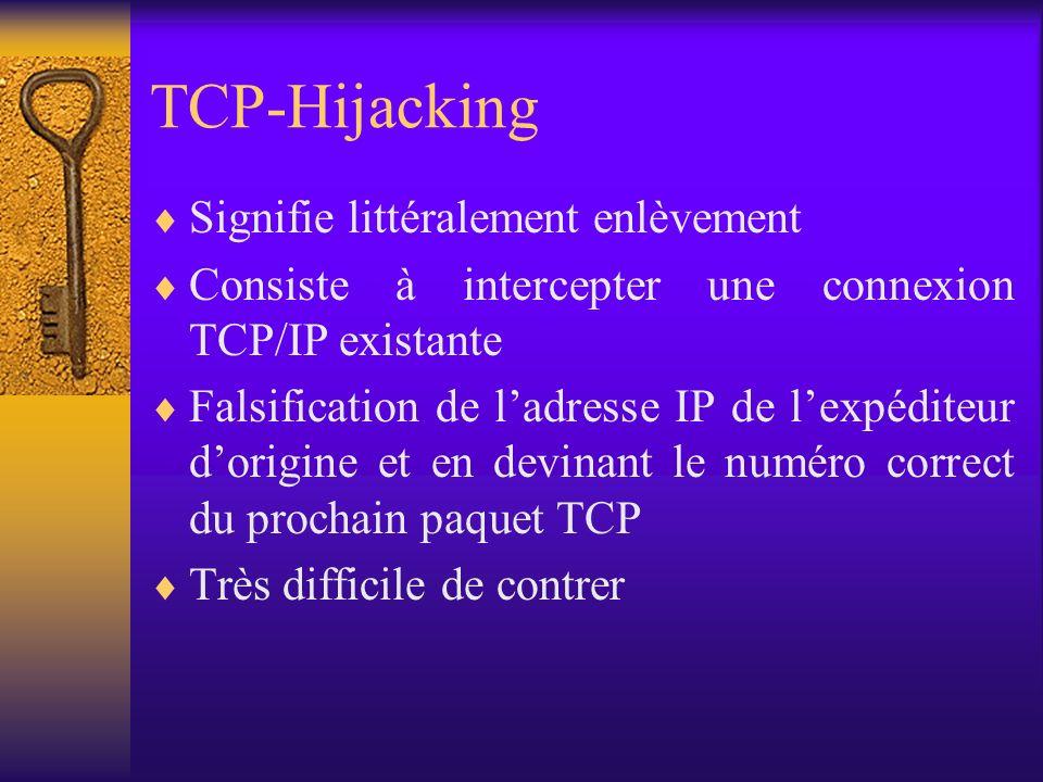 TCP-Hijacking Signifie littéralement enlèvement
