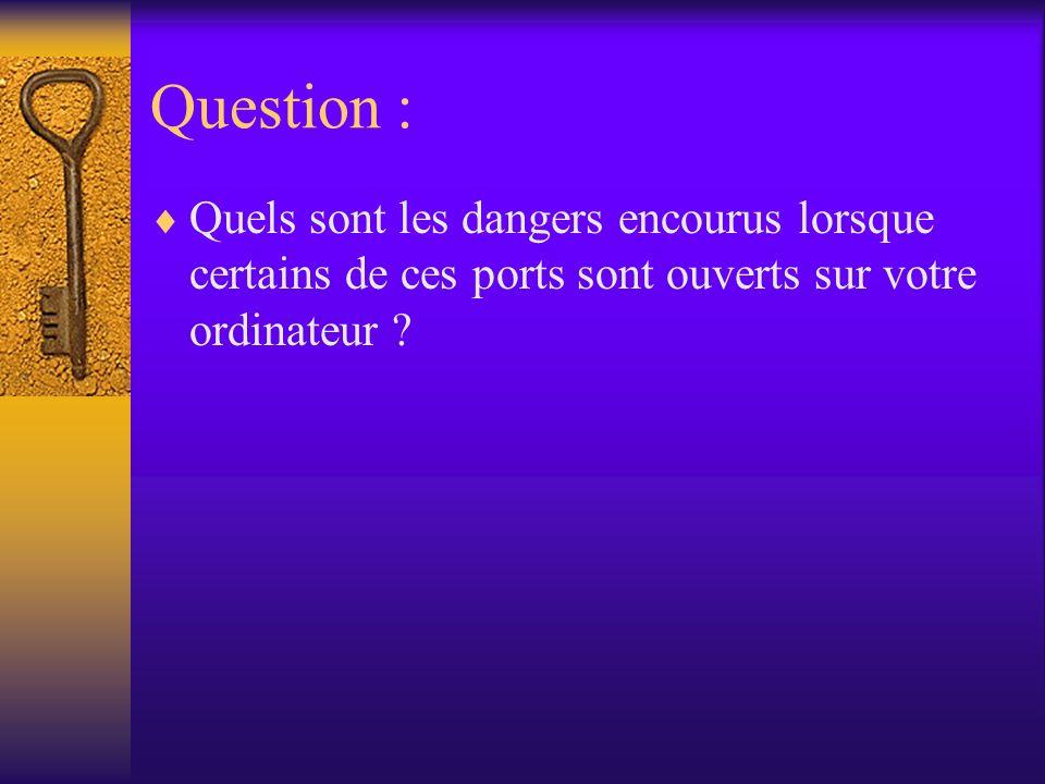 Question : Quels sont les dangers encourus lorsque certains de ces ports sont ouverts sur votre ordinateur
