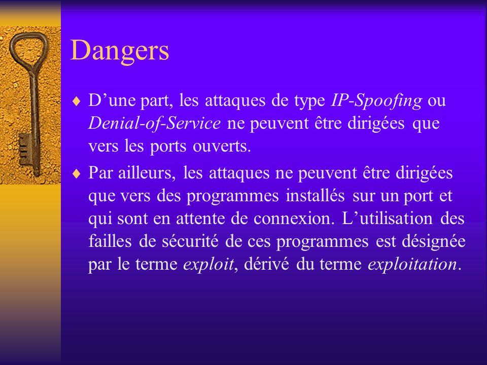 Dangers D'une part, les attaques de type IP-Spoofing ou Denial-of-Service ne peuvent être dirigées que vers les ports ouverts.