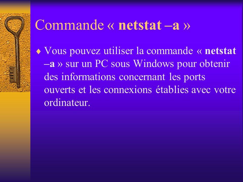 Commande « netstat –a »