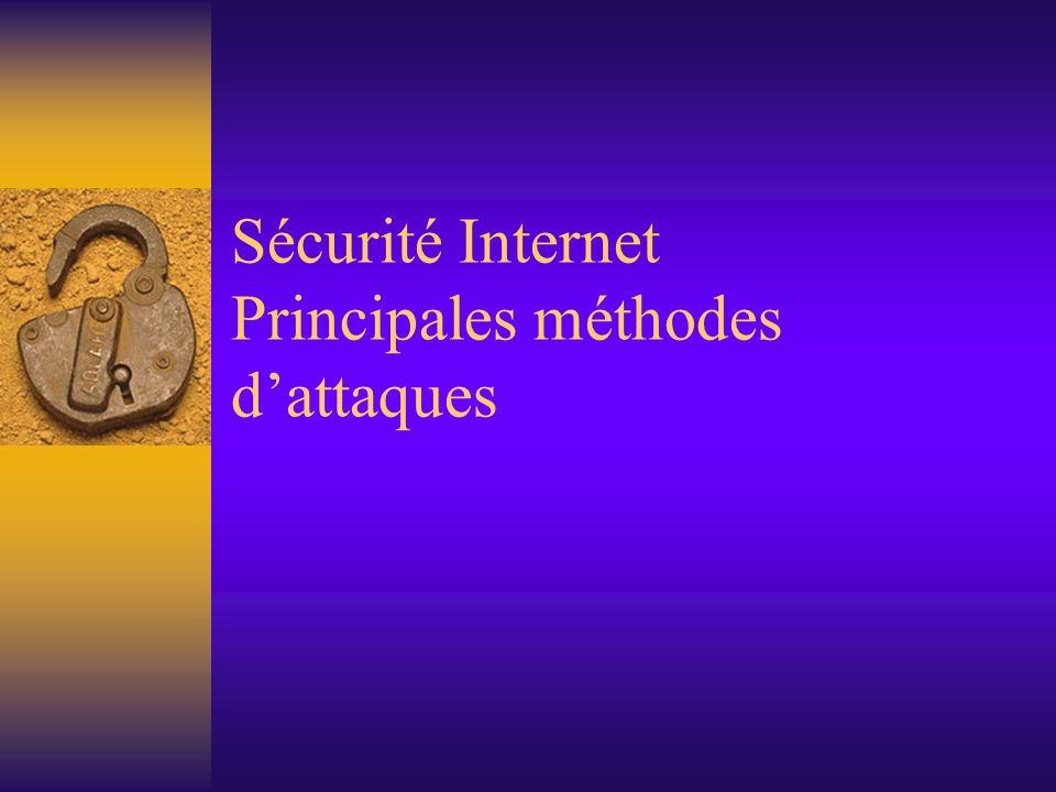 Sécurité Internet Principales méthodes d'attaques