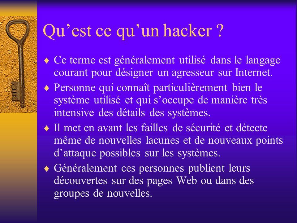 Qu'est ce qu'un hacker Ce terme est généralement utilisé dans le langage courant pour désigner un agresseur sur Internet.