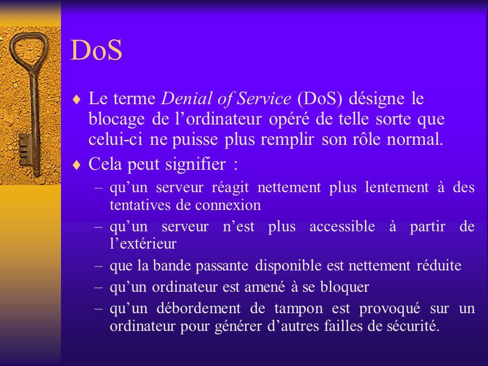 DoS Le terme Denial of Service (DoS) désigne le blocage de l'ordinateur opéré de telle sorte que celui-ci ne puisse plus remplir son rôle normal.