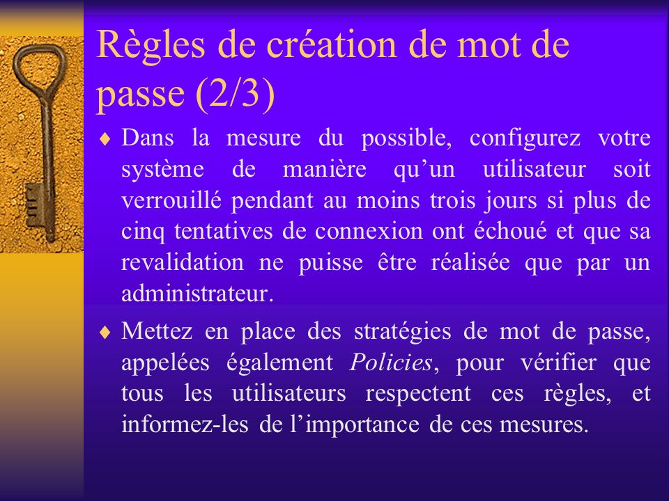 Règles de création de mot de passe (2/3)