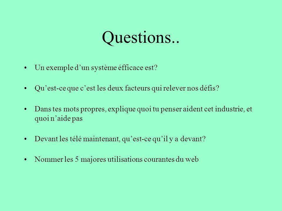 Questions.. Un exemple d'un système éfficace est