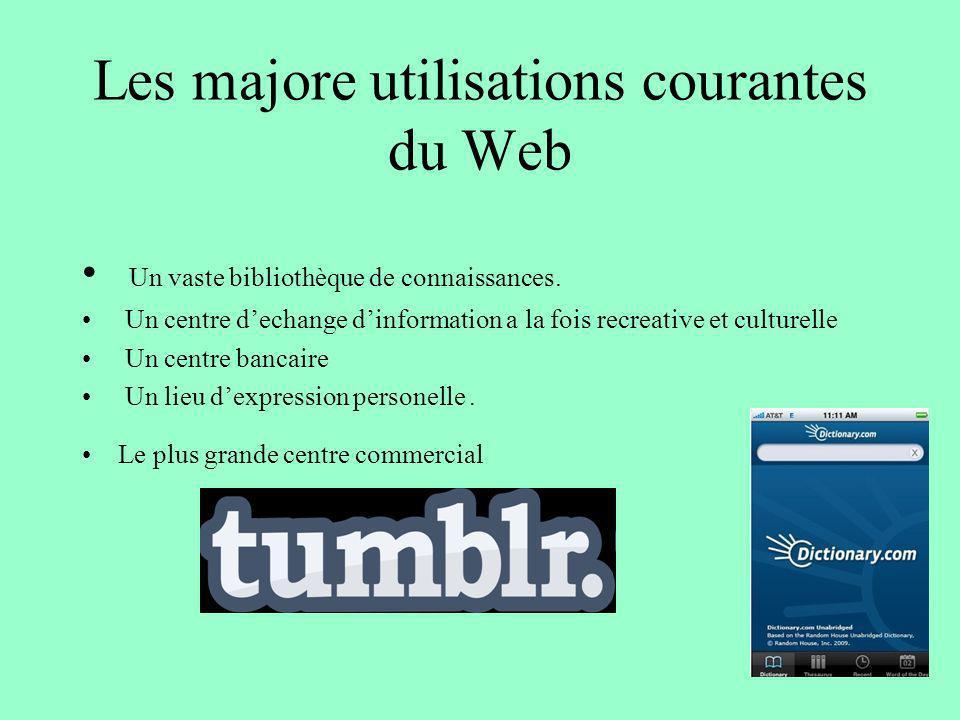Les majore utilisations courantes du Web