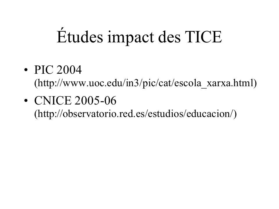 Études impact des TICE PIC 2004 (http://www.uoc.edu/in3/pic/cat/escola_xarxa.html)