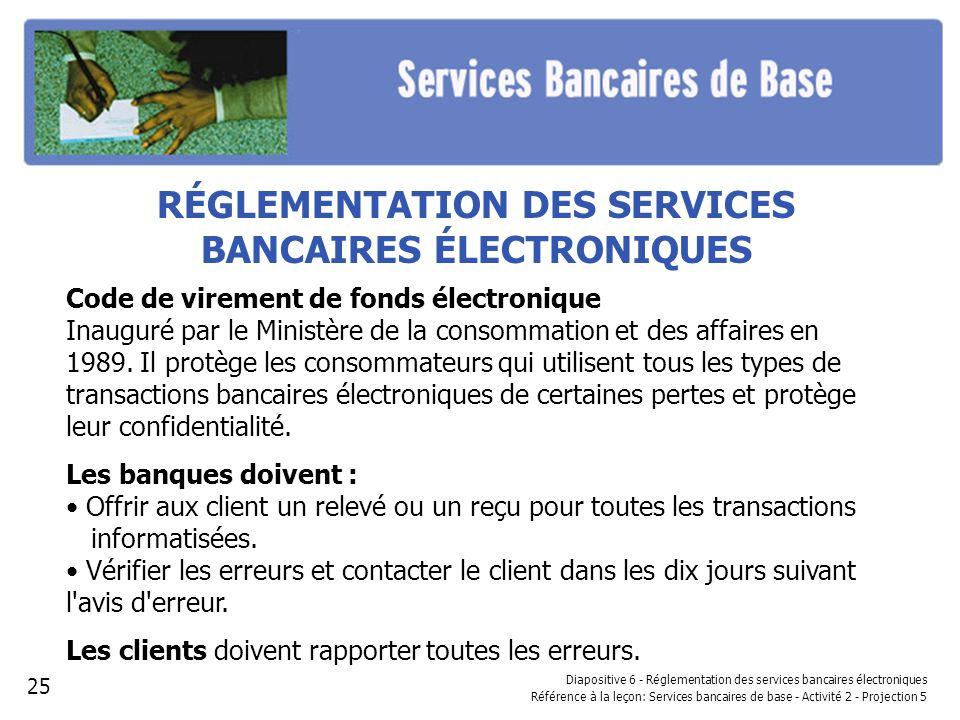 RÉGLEMENTATION DES SERVICES