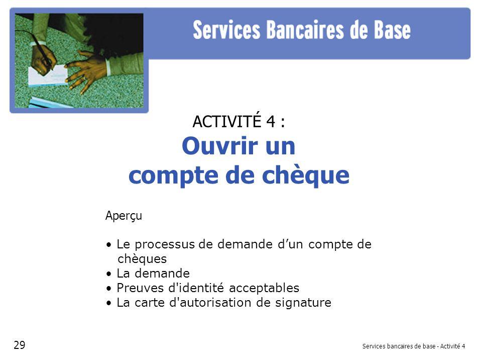 Services bancaires de base - Activité 4
