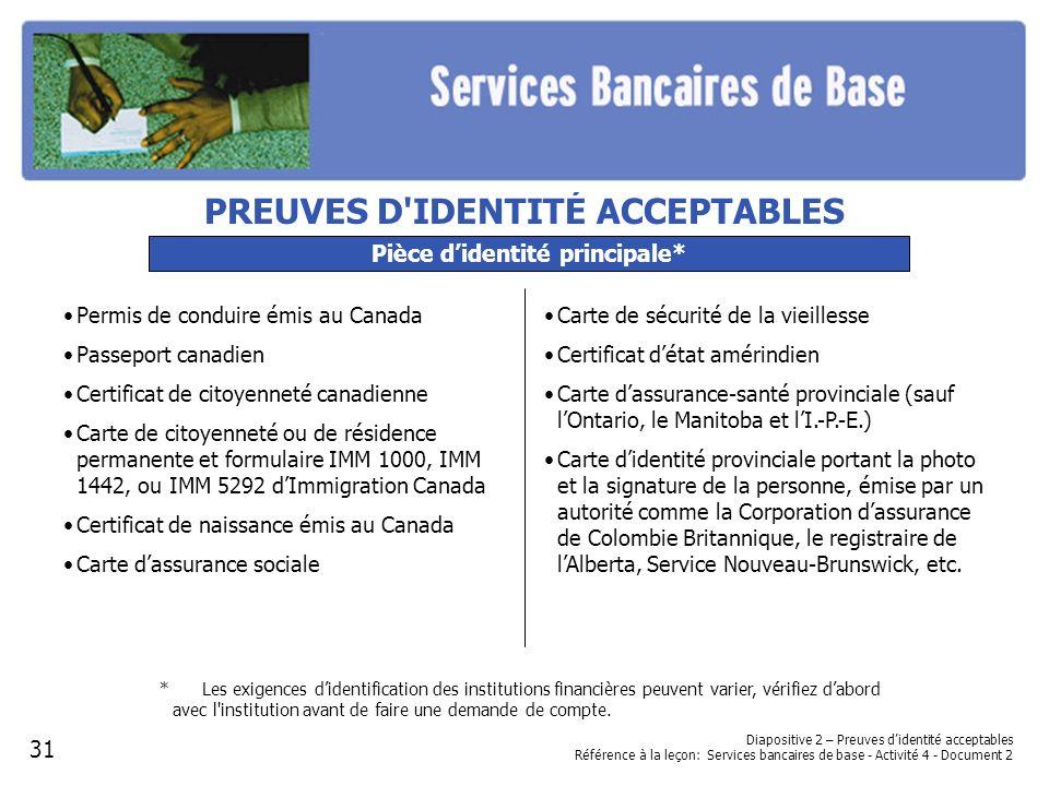 PREUVES D IDENTITÉ ACCEPTABLES Pièce d'identité principale*