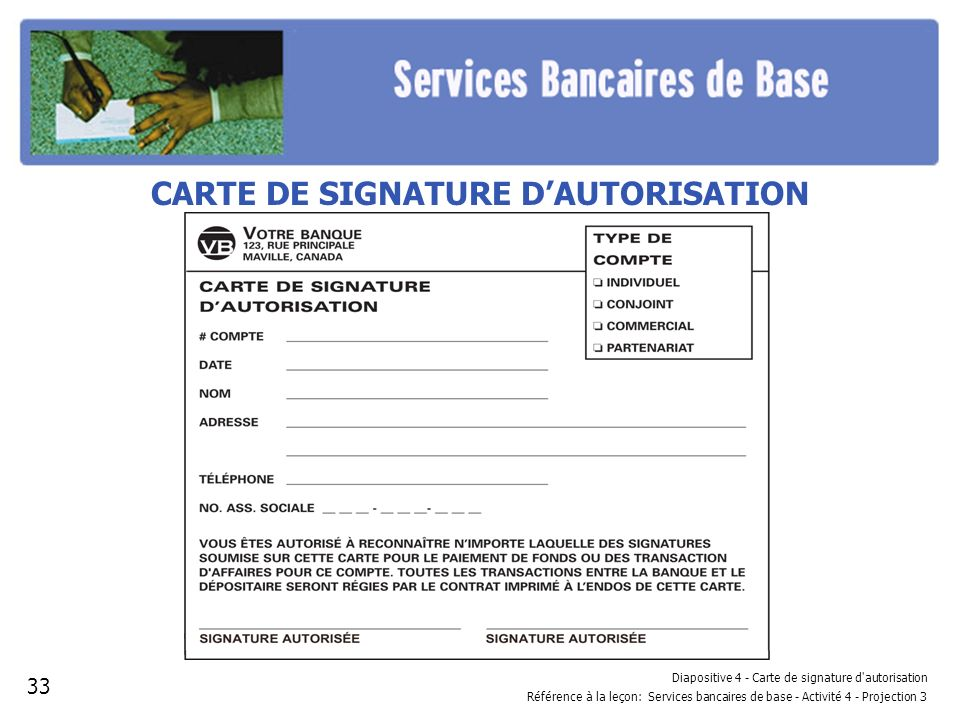 CARTE DE SIGNATURE D'AUTORISATION