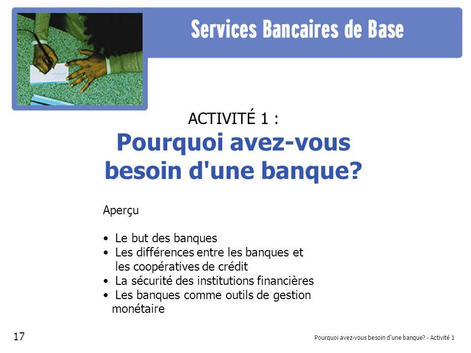 Pourquoi avez-vous besoin d'une banque - Activité 1