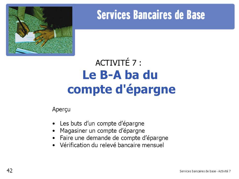 Services bancaires de base - Activité 7