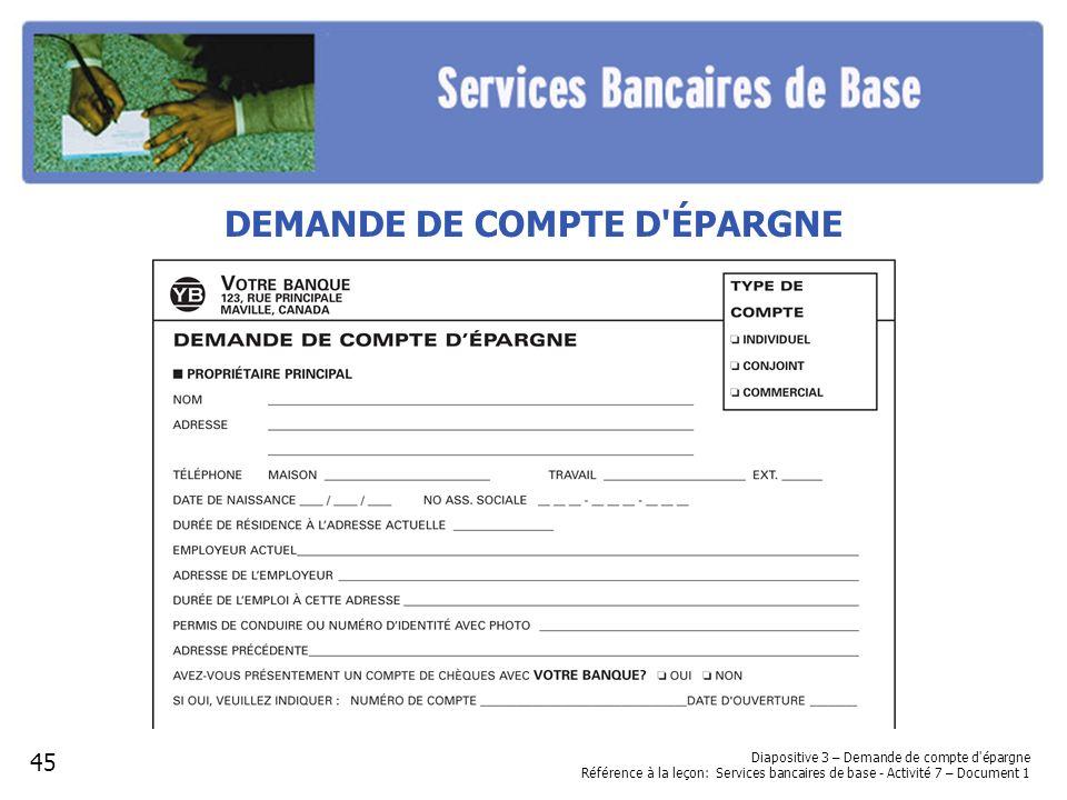 DEMANDE DE COMPTE D ÉPARGNE