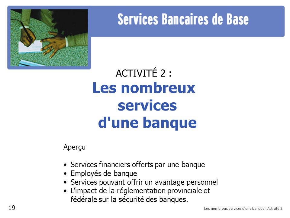 Les nombreux services d'une banque - Activité 2