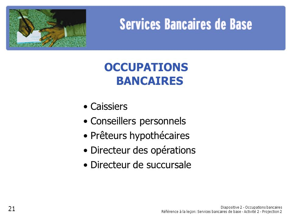 OCCUPATIONS BANCAIRES
