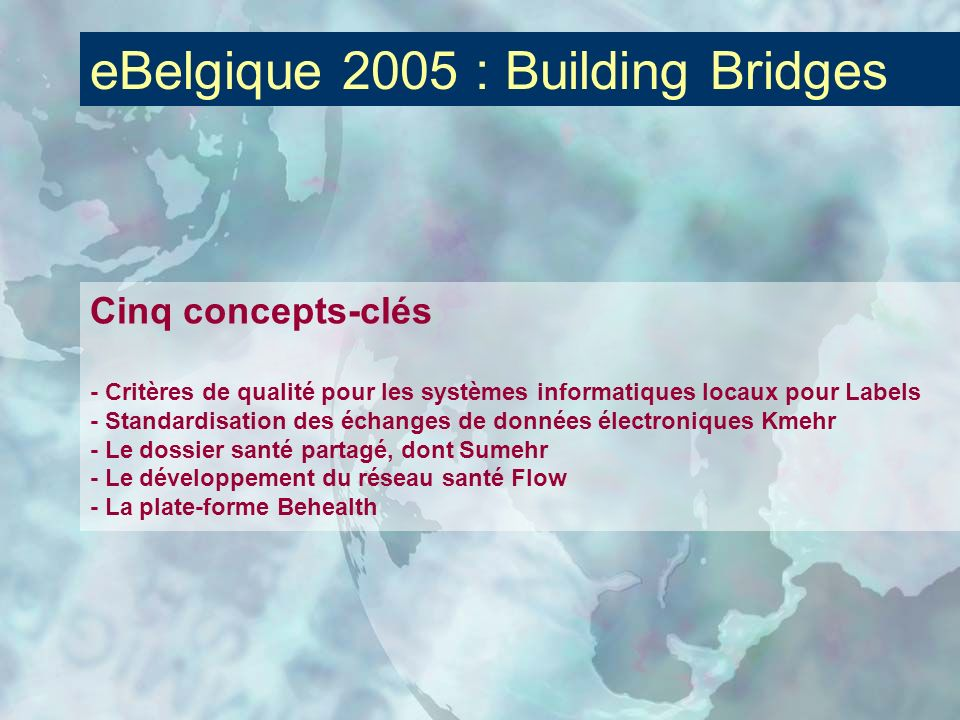 eBelgique 2005 : Building Bridges