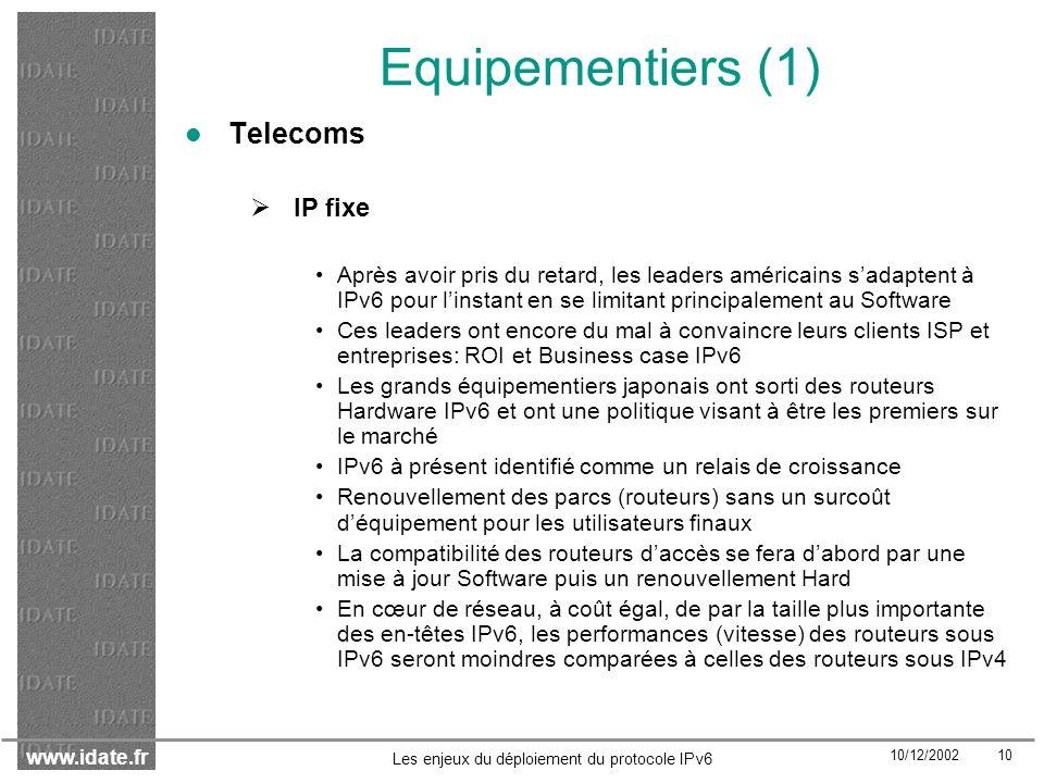 Equipementiers (1) Telecoms IP fixe