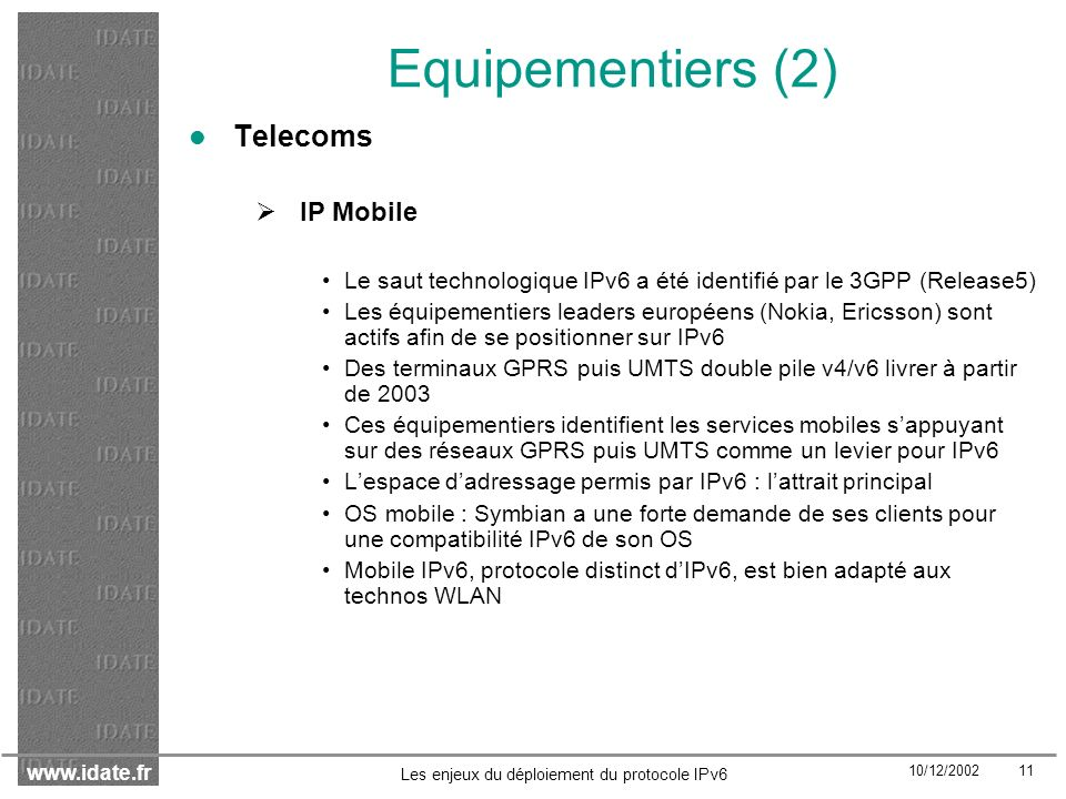 Equipementiers (2) Telecoms IP Mobile