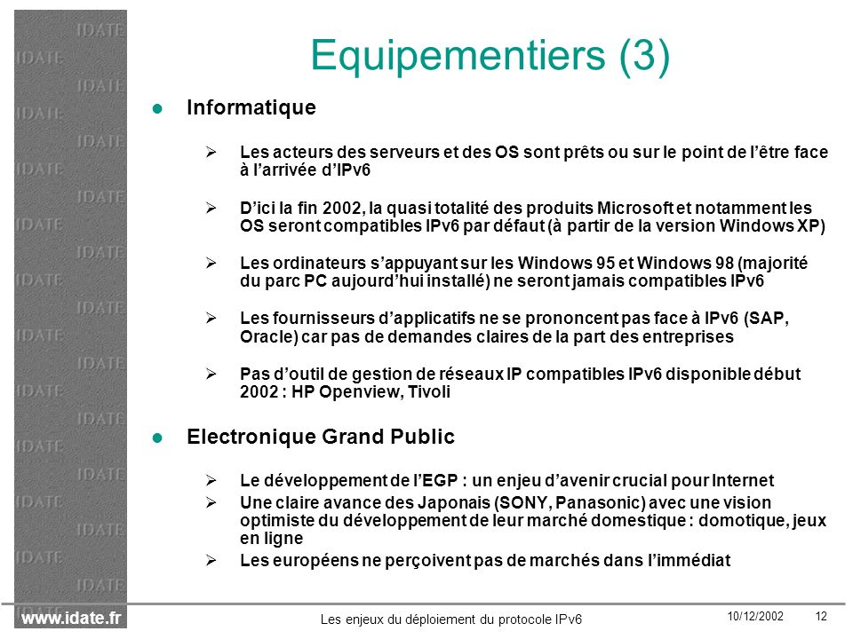 Equipementiers (3) Informatique Electronique Grand Public