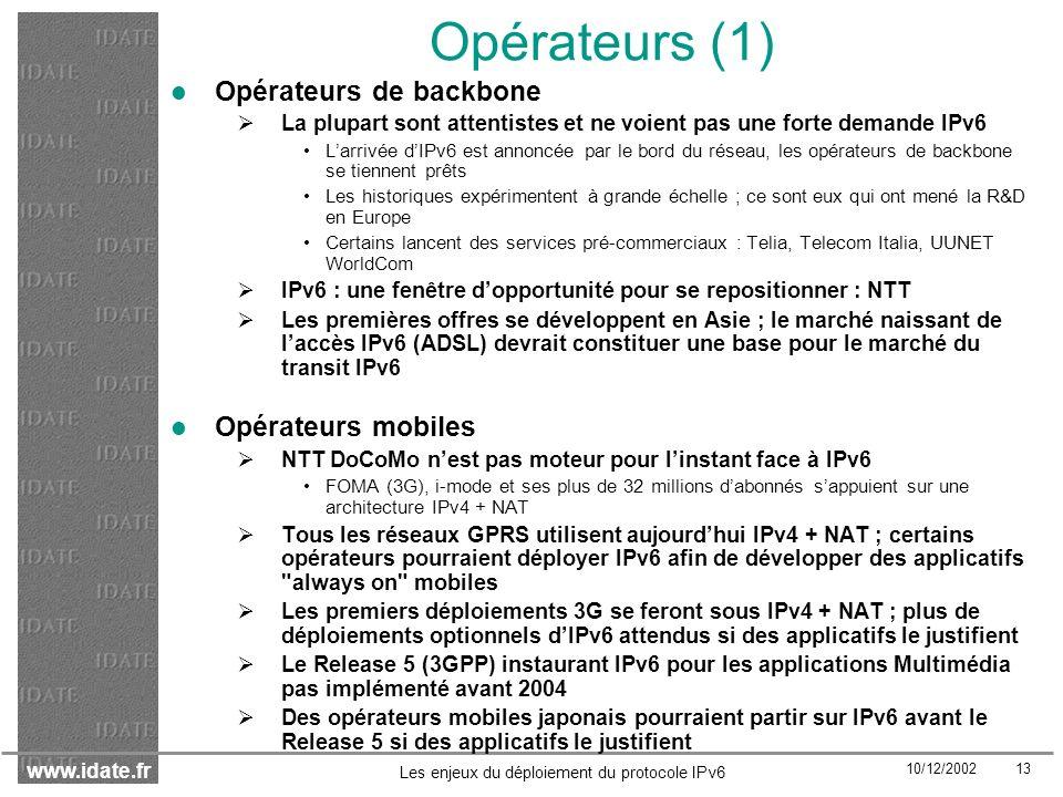 Opérateurs (1) Opérateurs de backbone Opérateurs mobiles