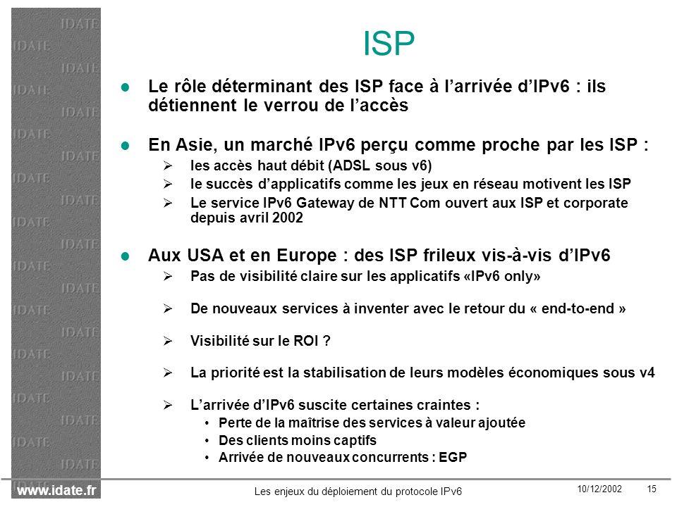 ISP Le rôle déterminant des ISP face à l'arrivée d'IPv6 : ils détiennent le verrou de l'accès.