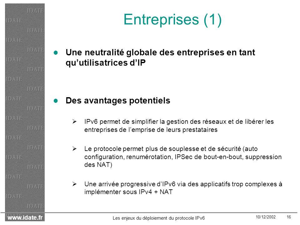 Entreprises (1) Une neutralité globale des entreprises en tant qu'utilisatrices d'IP. Des avantages potentiels.