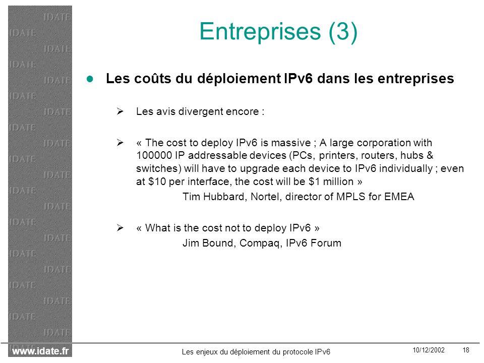 Entreprises (3) Les coûts du déploiement IPv6 dans les entreprises