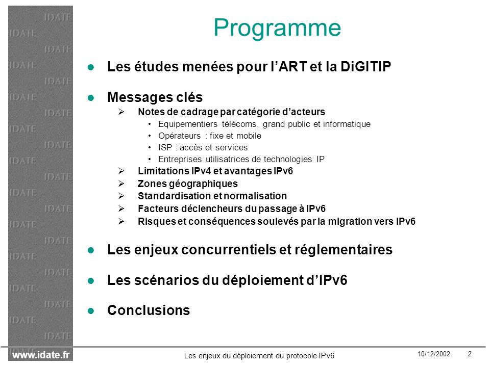 Programme Les études menées pour l'ART et la DiGITIP Messages clés
