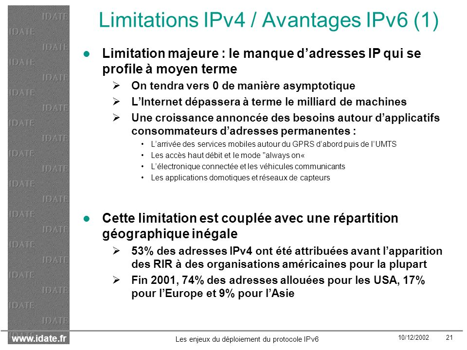 Limitations IPv4 / Avantages IPv6 (1)