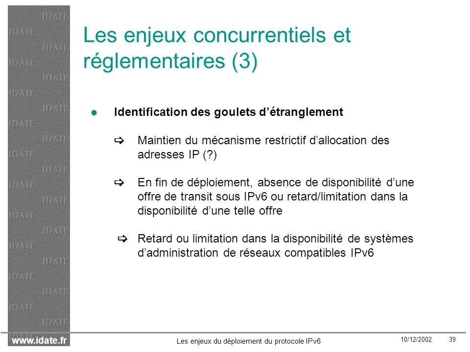 Les enjeux concurrentiels et réglementaires (3)