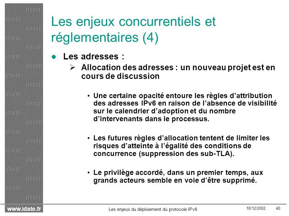 Les enjeux concurrentiels et réglementaires (4)