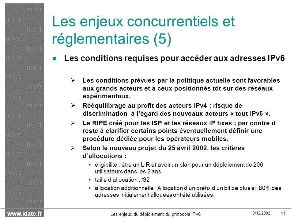 Les enjeux concurrentiels et réglementaires (5)
