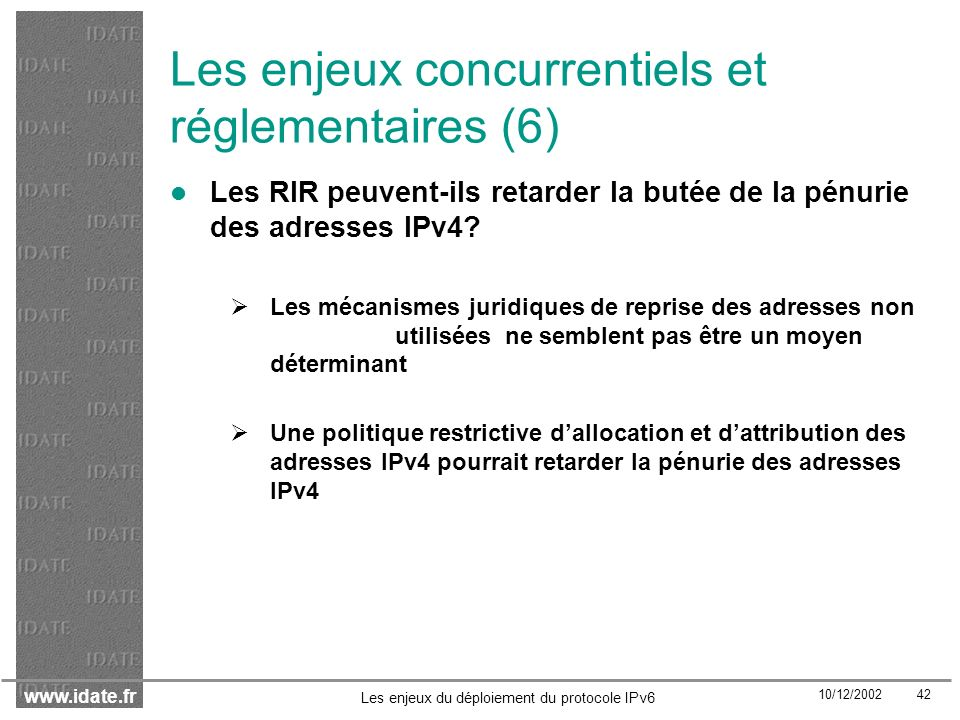 Les enjeux concurrentiels et réglementaires (6)