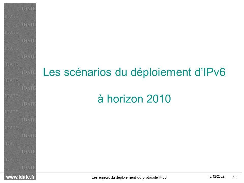 Les scénarios du déploiement d'IPv6 à horizon 2010
